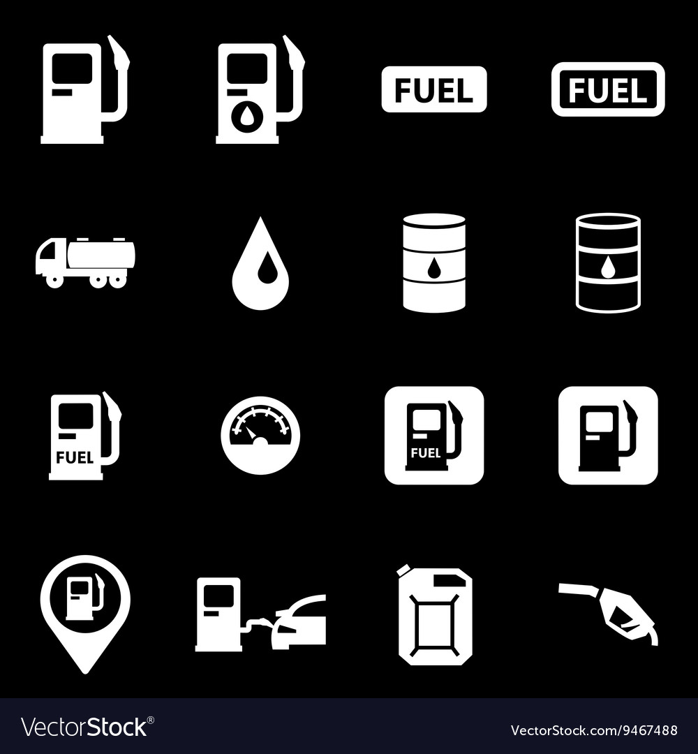 White gas station icon set