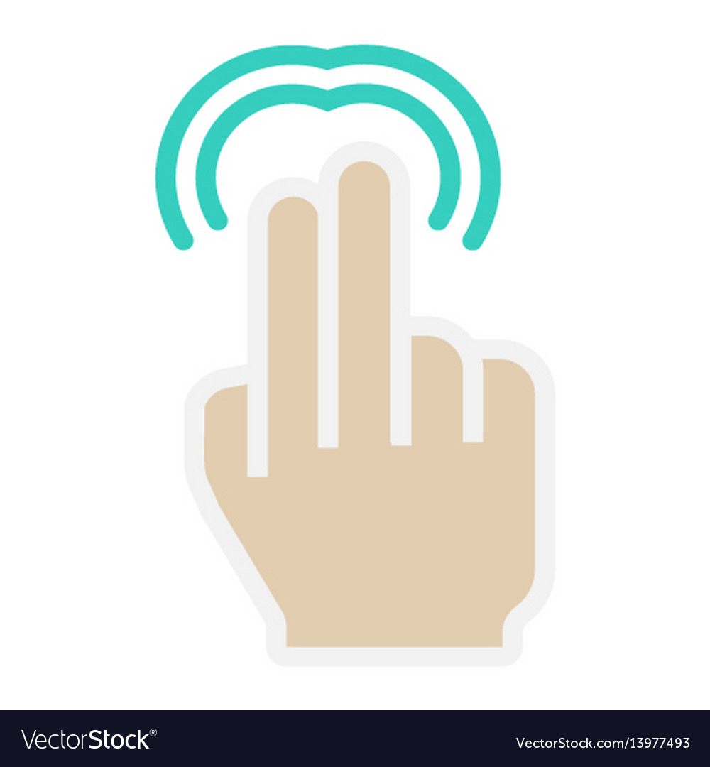 2 finger double tap flat icon touch and gesture