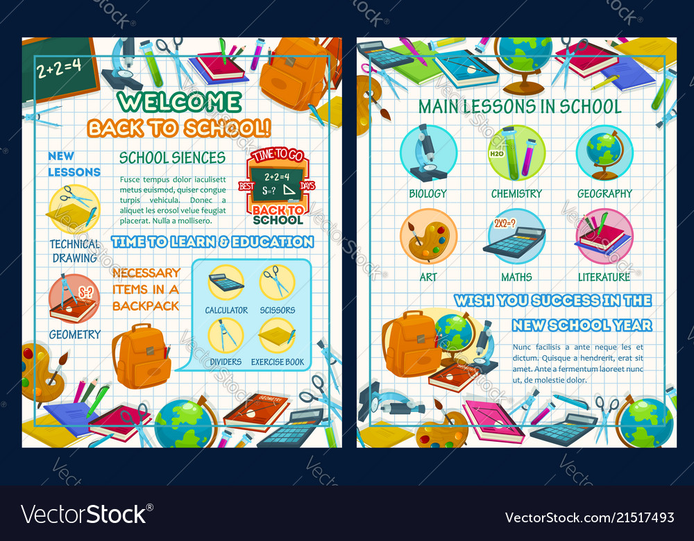 Back to school poster with science infographics