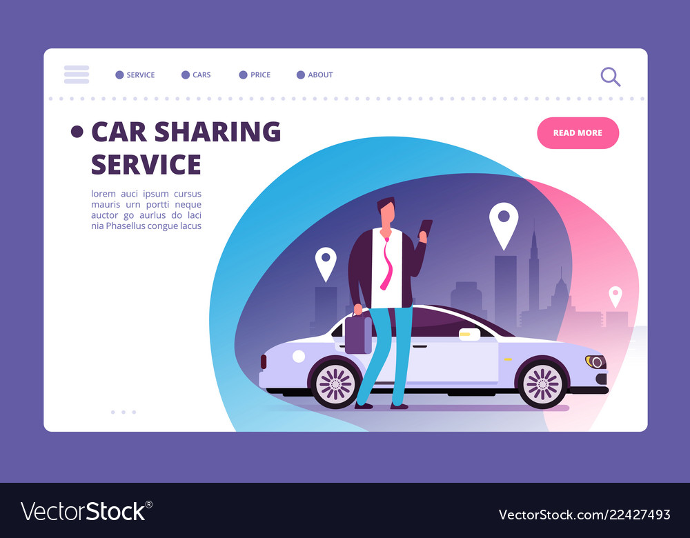 Car sharing concept businessman with smartphone
