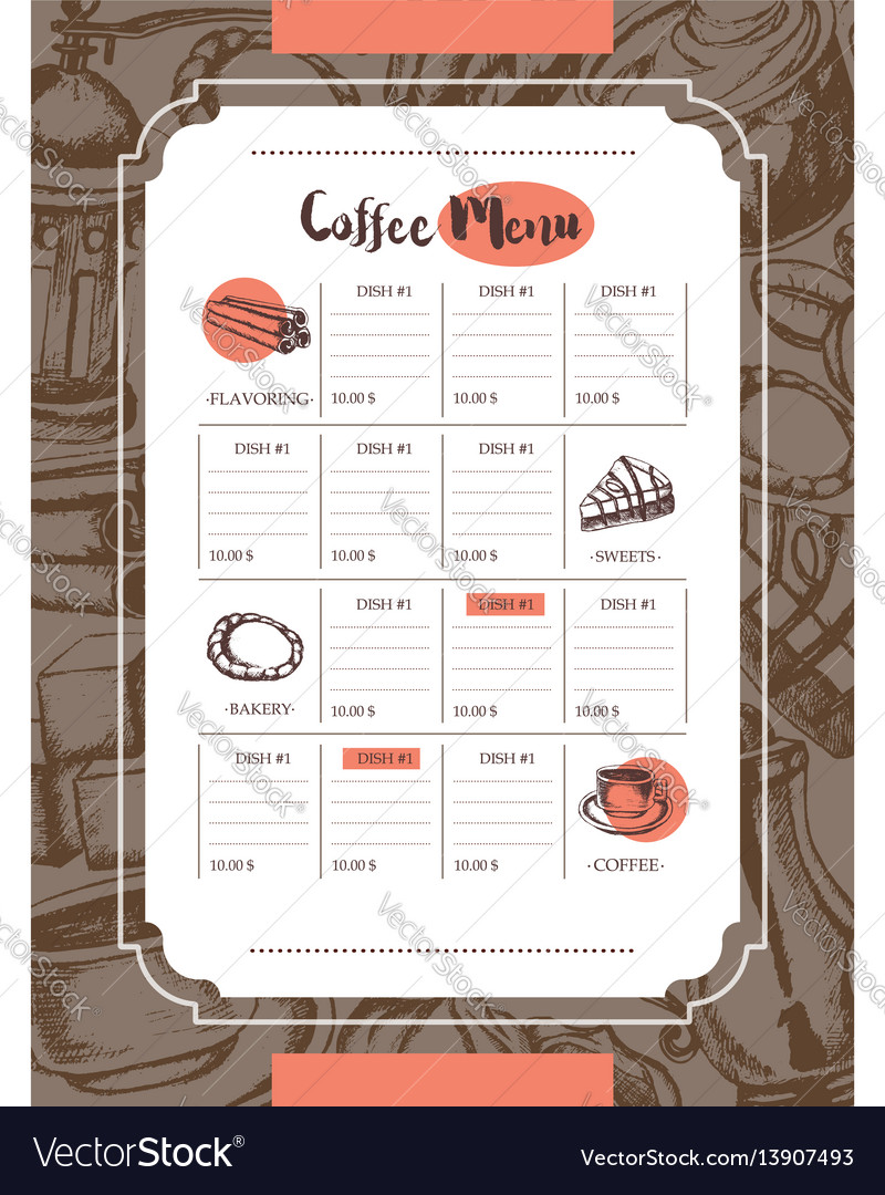 Delicious coffee - color hand drawn composite