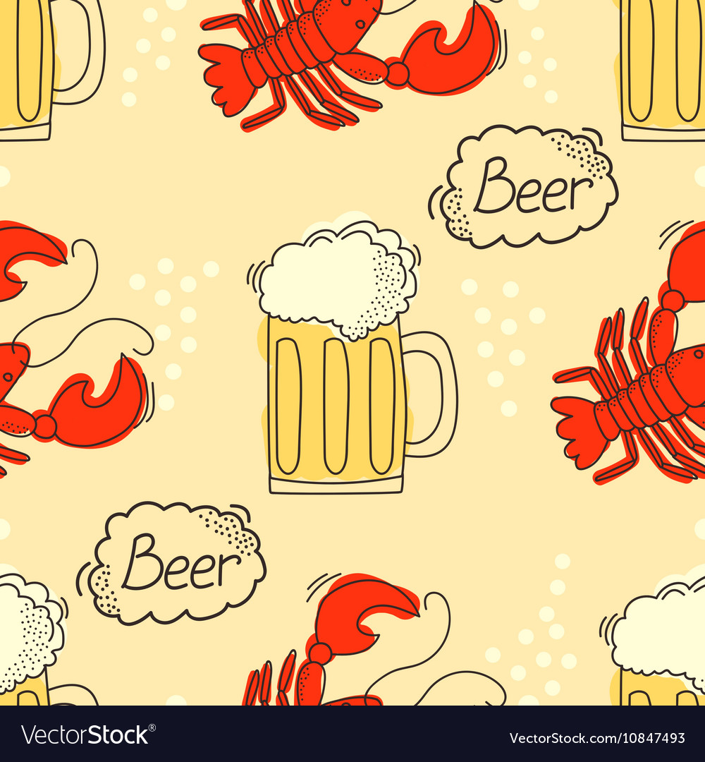 Doodle pattern with beer and crawfish vector image