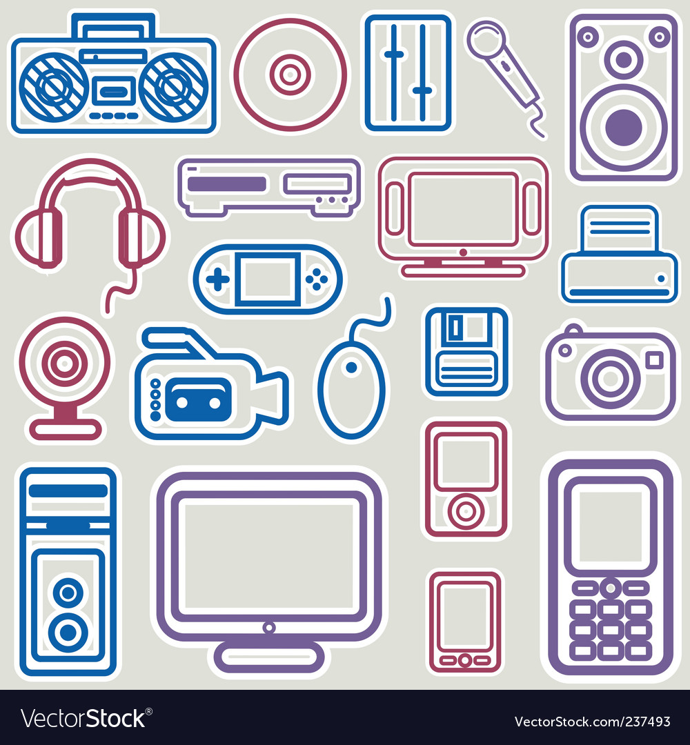 Electronic icon set vector image