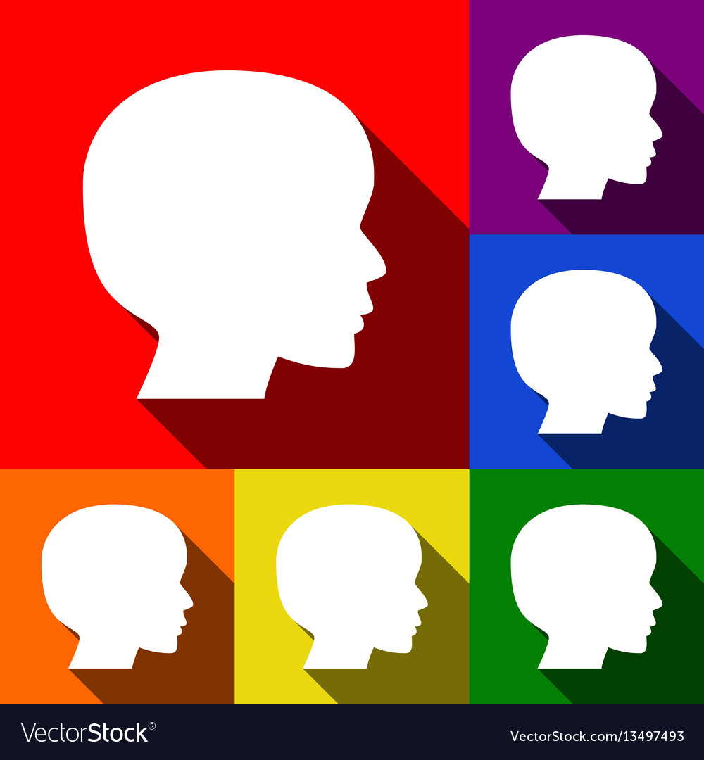 People head sign set of icons with flat