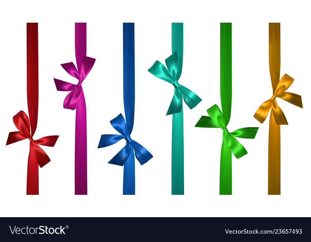 Realistic colored bow with vertical ribbon