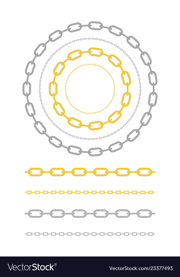 Set of chain of gold silver and steel color