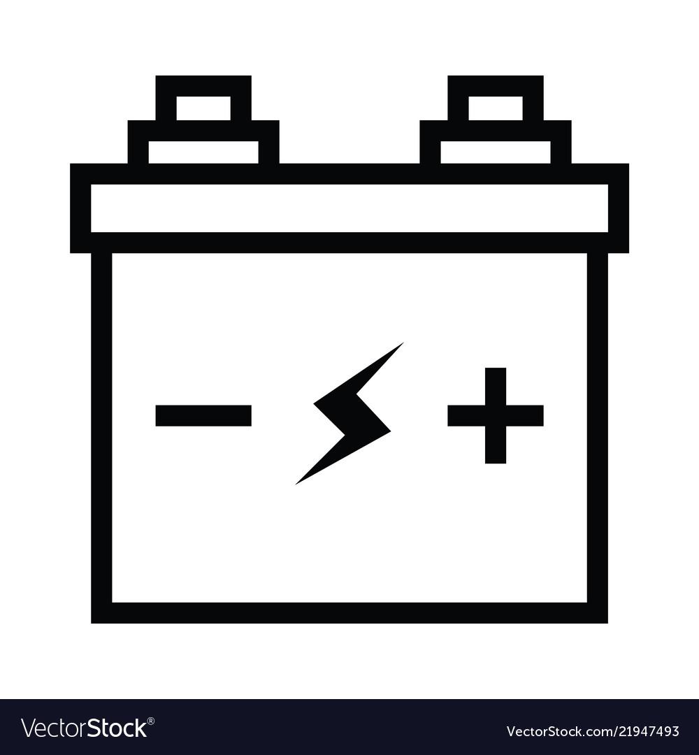 Simple black flat accumulator icon lightning bolt