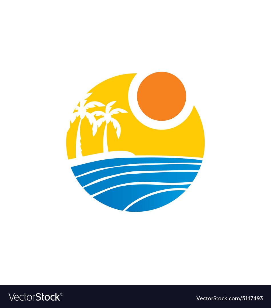 Tropical palm tree beach logo vector image