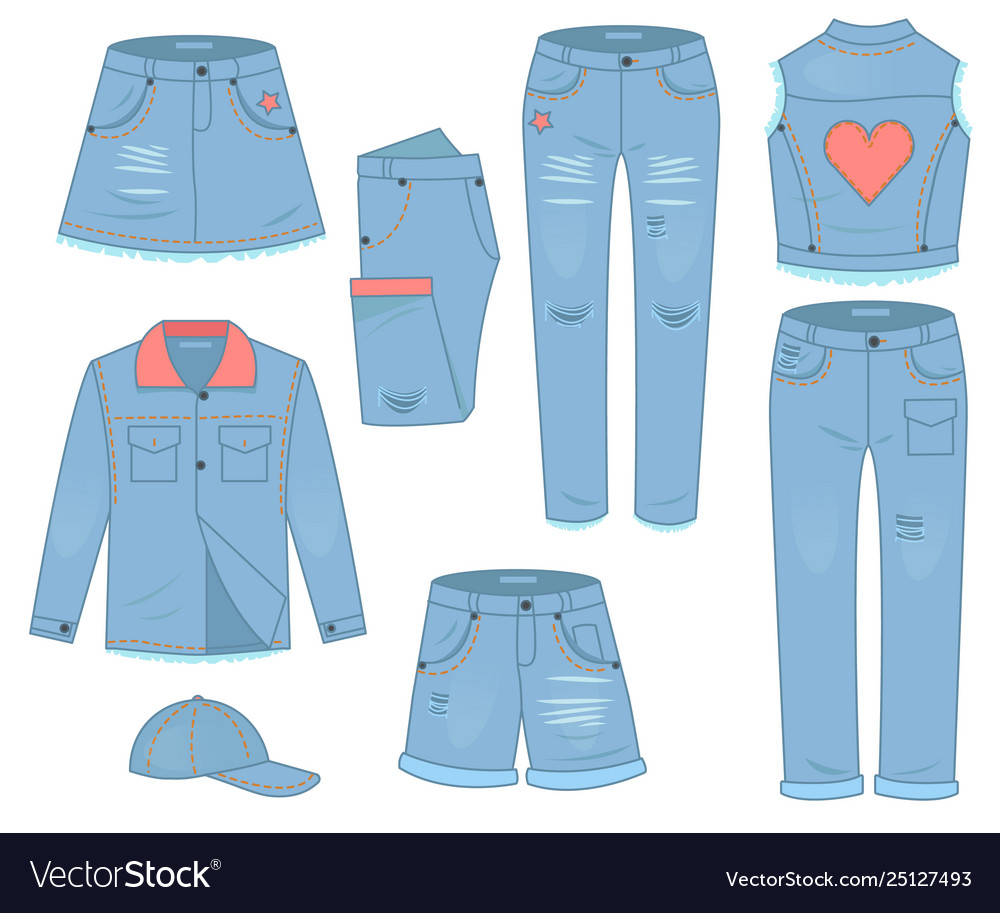 Womens clothing set blue jeans fashion design