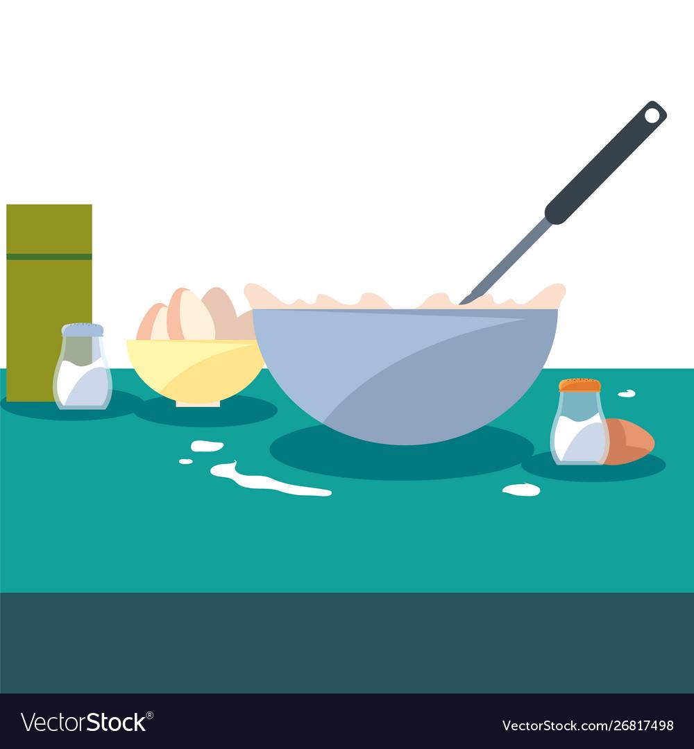 Bowl eggs salt utensil food preparation cooking