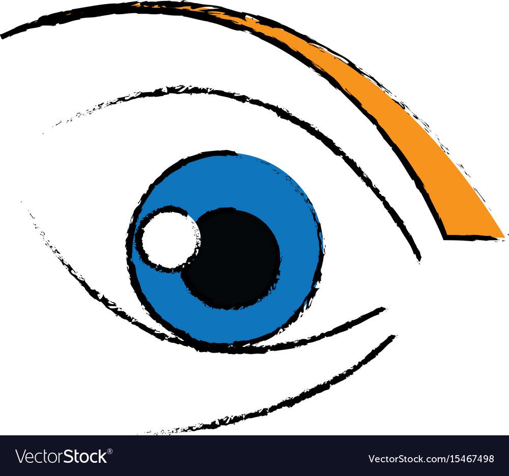 Cute cartoon eye look emoticon icon