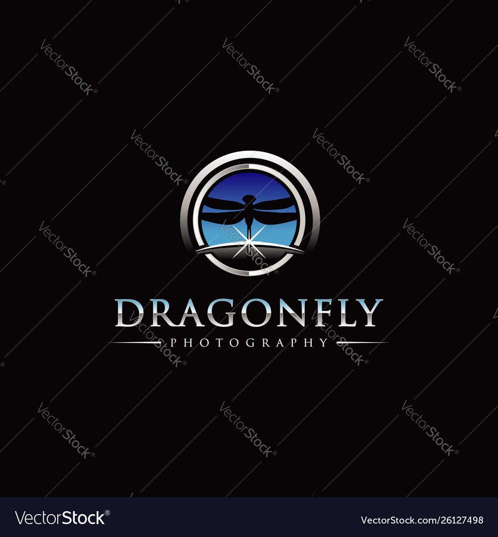 Dragonfly photography with sky horizon logo symbol