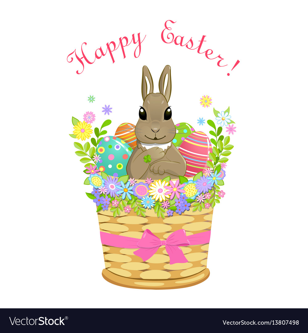 Easter bunny in basket with eggs