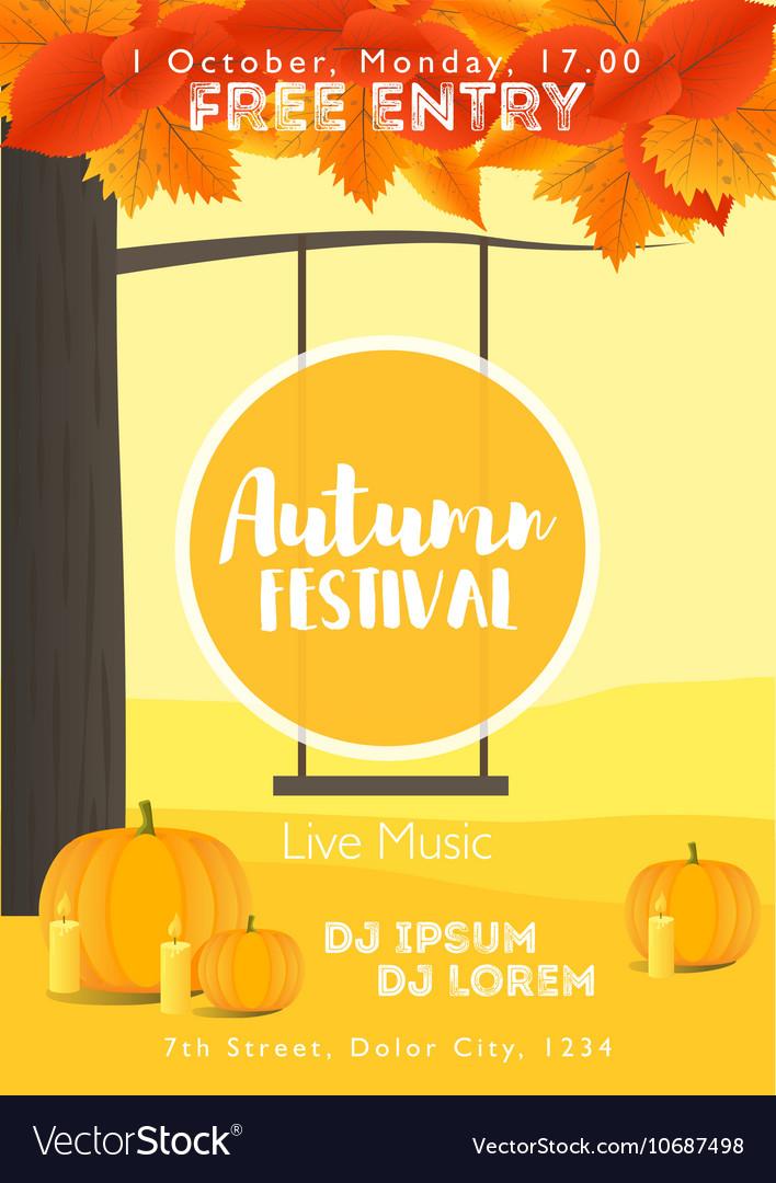 Fall Festival template Bright colourful autumn