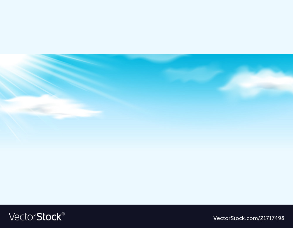 Fluffy clouds at blue sky with sunshine