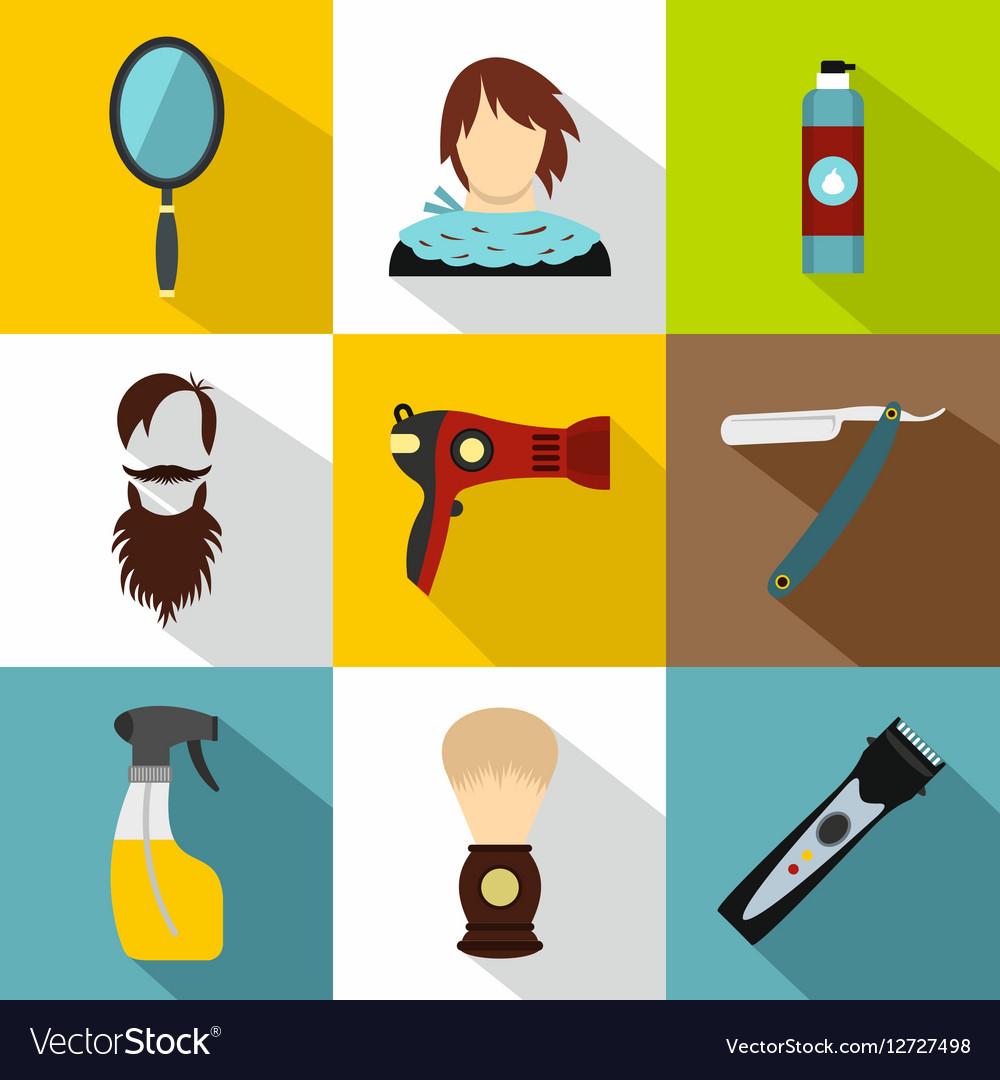 Hair cut icons set flat style