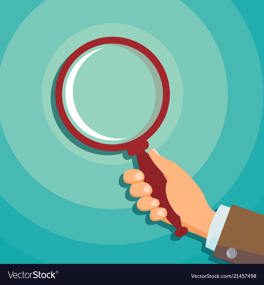 Hand holding magnifying glass data
