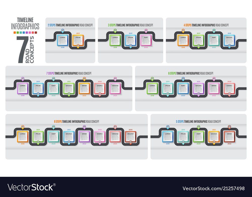 Navigation map infographic timeline concept