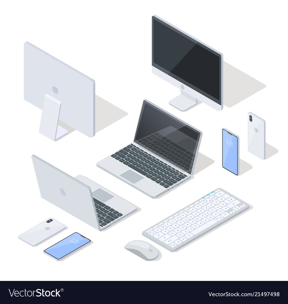 Set of most common devices for work and fun