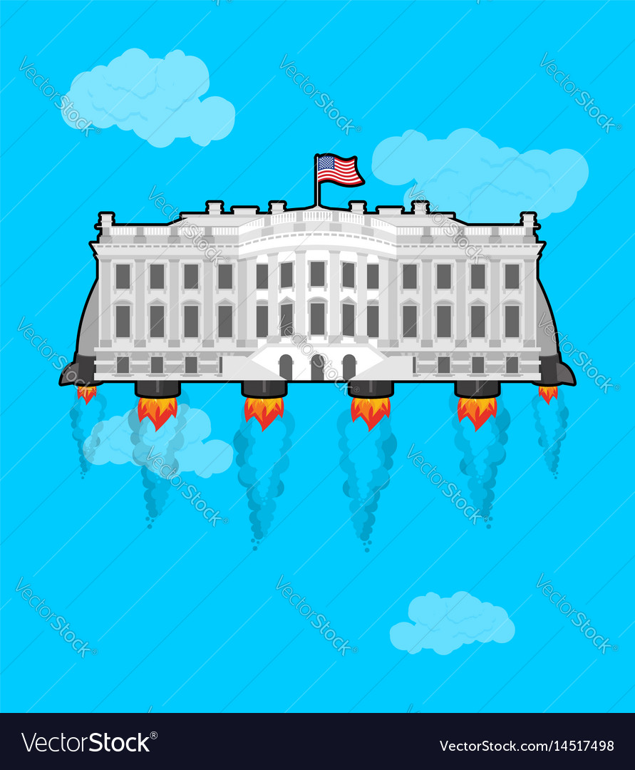 White house flying with rocket turbo usa vector image