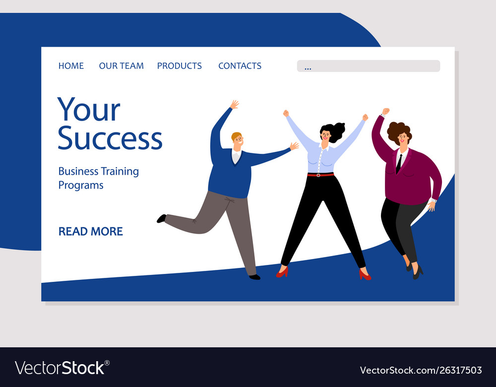 Business landing page template successful