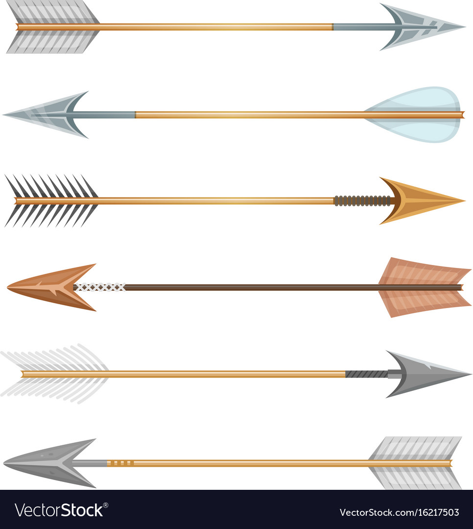 Cartoon wood metal and stone arrows for bow