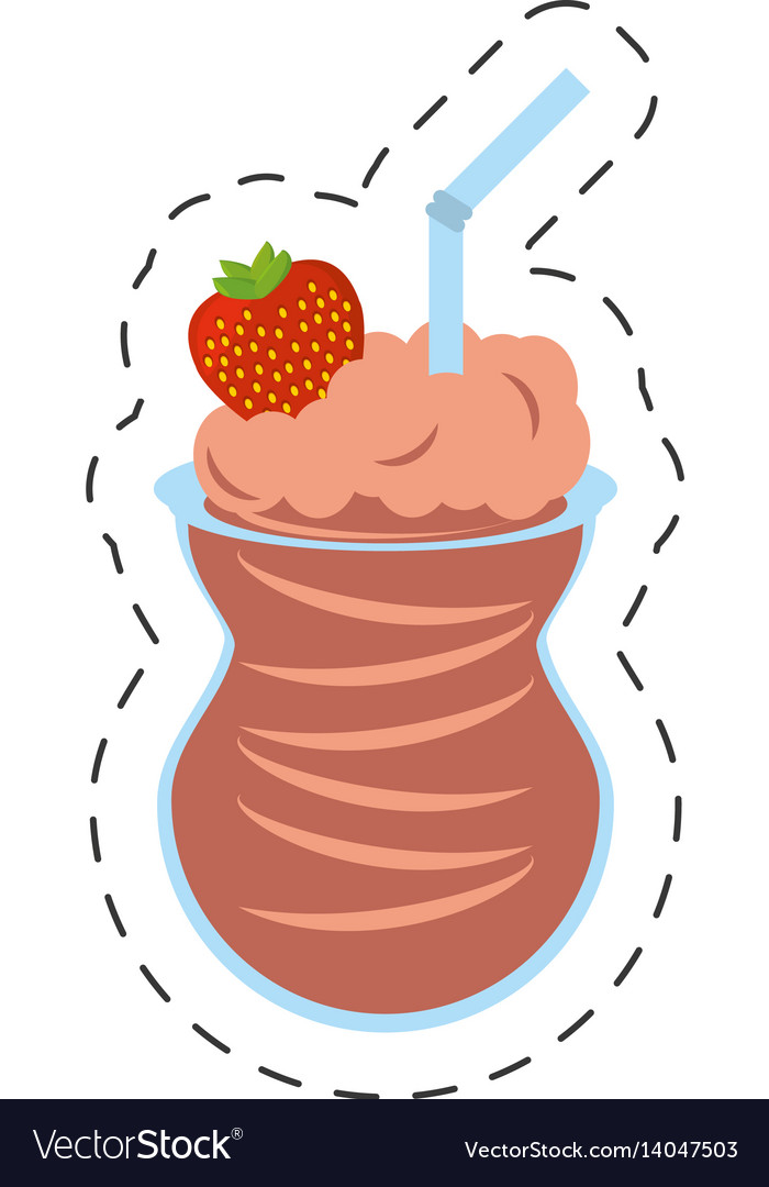 Chocolate ice cream strawberry straw cut line