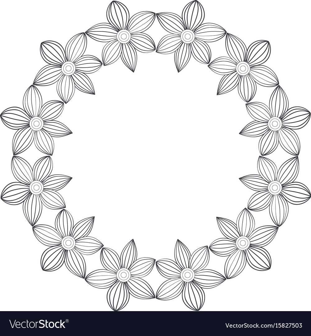 Circular crown with flowers royalty free vector image circular crown with flowers vector image izmirmasajfo
