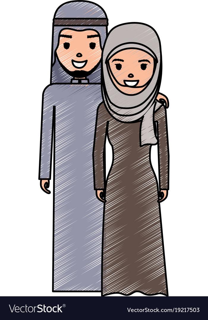 Cute arab couple cartoon