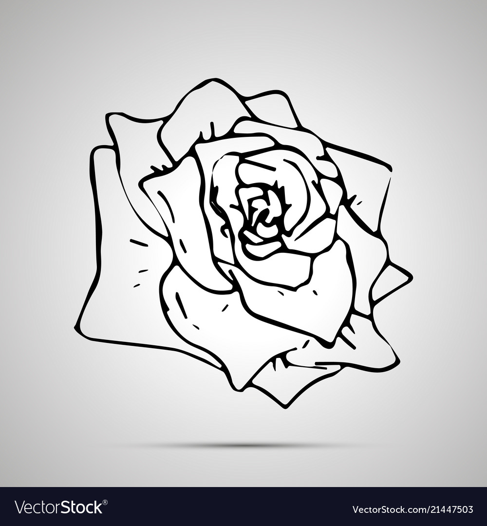 Cute outline flower simple black icon
