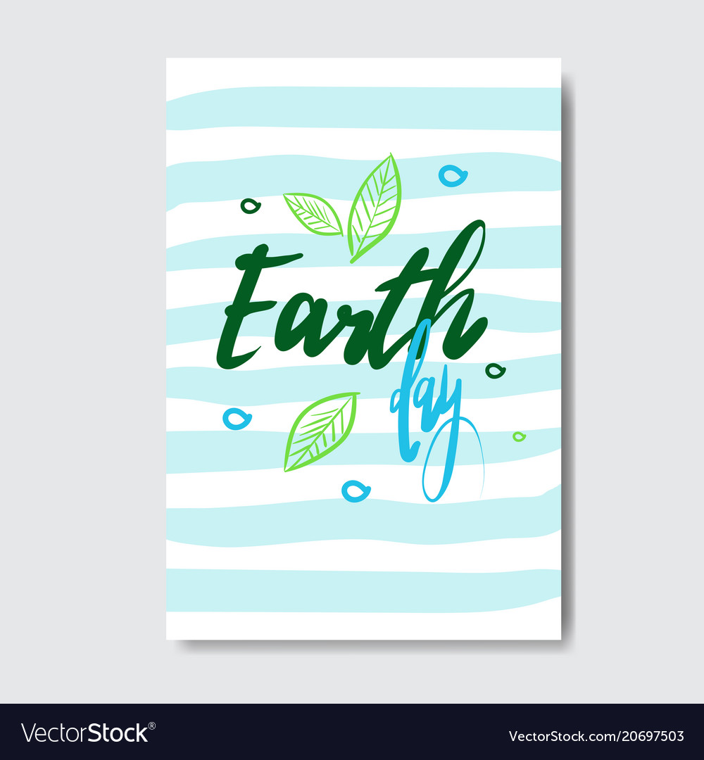 Earth day cute greeting card or postcard eco