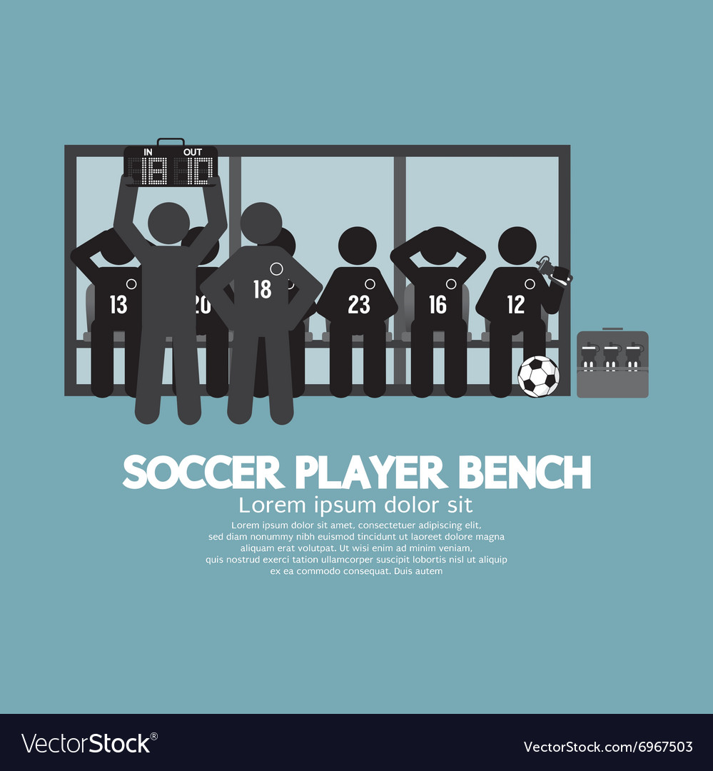 Football Or Soccer Player Bench Black Symbol vector image