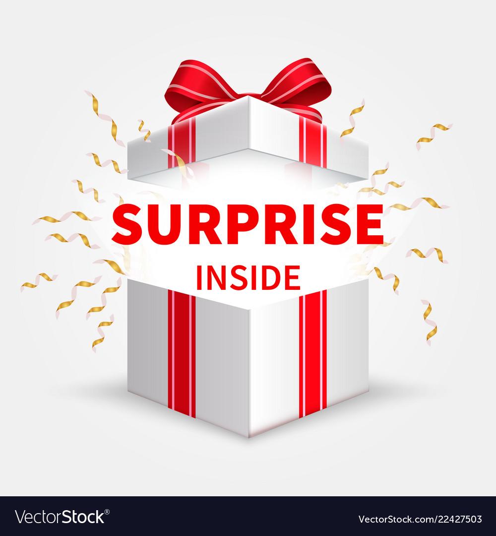 Gift box with ribbon opening white box birthday