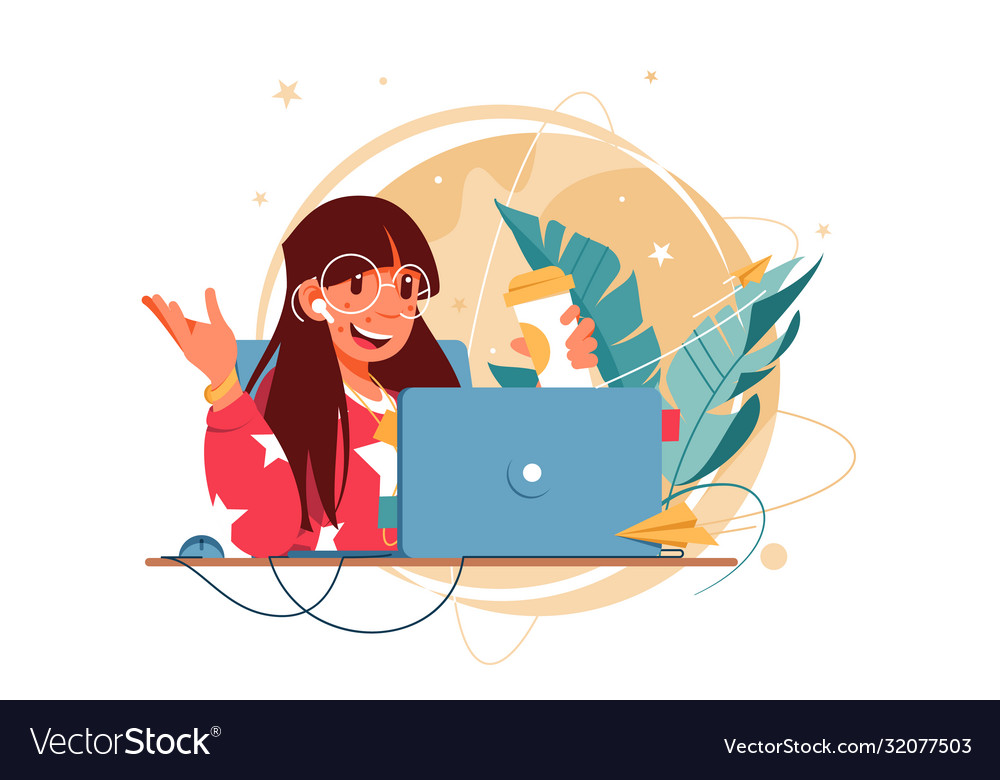 Happy woman with glasses using laptop for distance