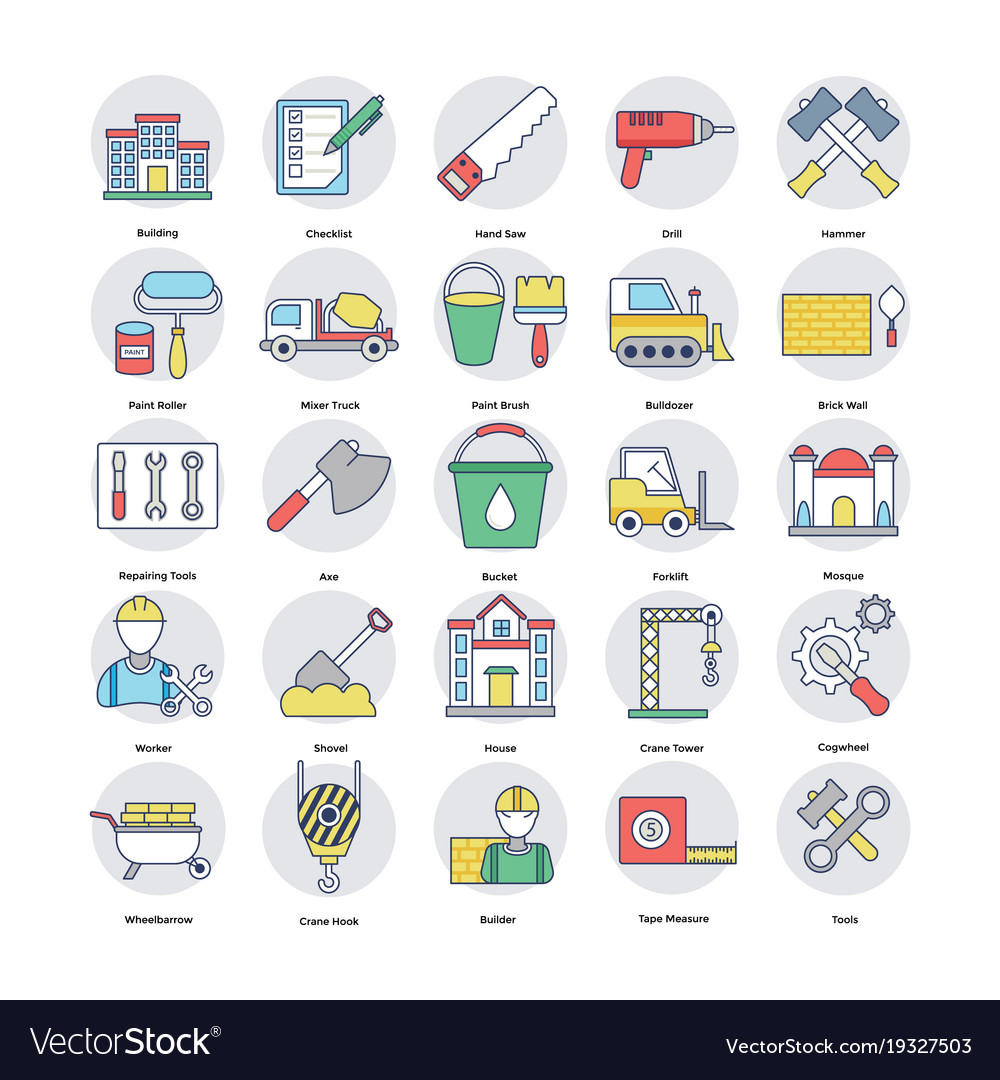Home services flat icons set vector image