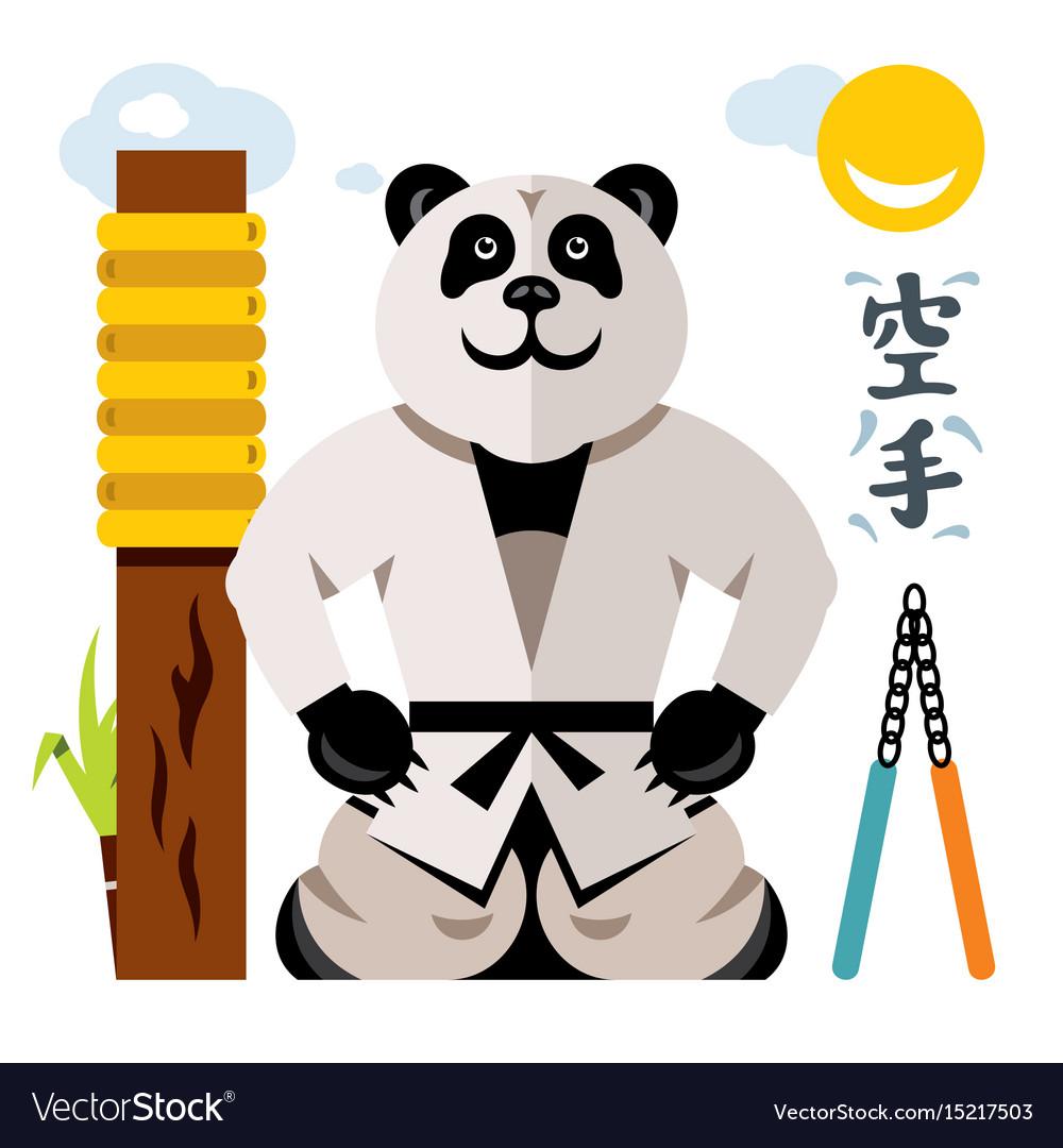 Karate panda flat style colorful cartoon vector image