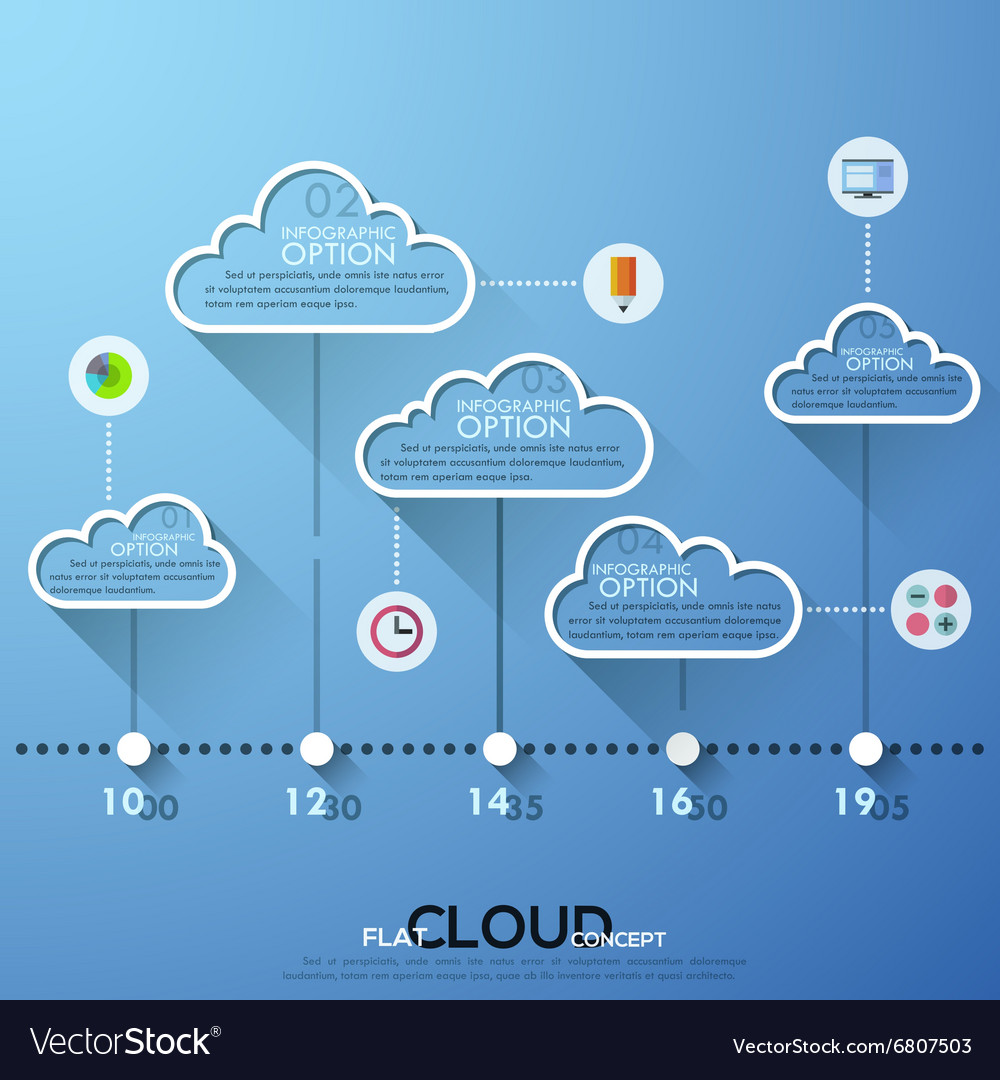 Modern infographics cloud template for 5 options