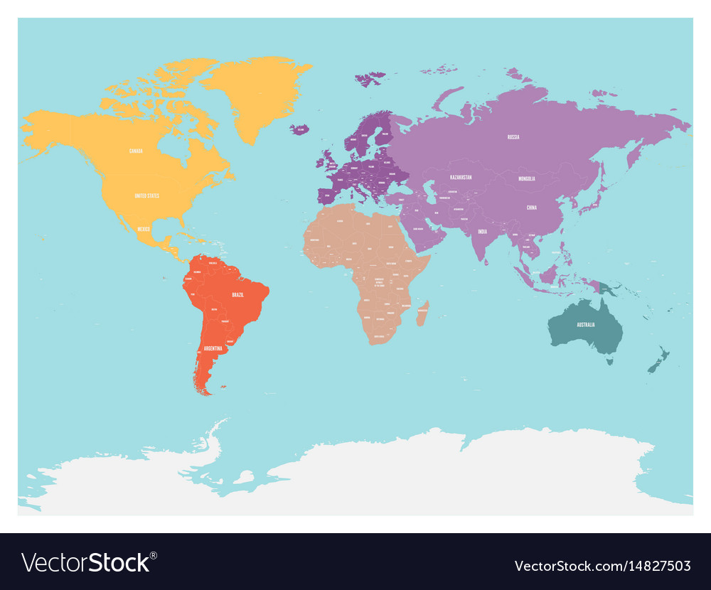 Political map of world with antarctica continents