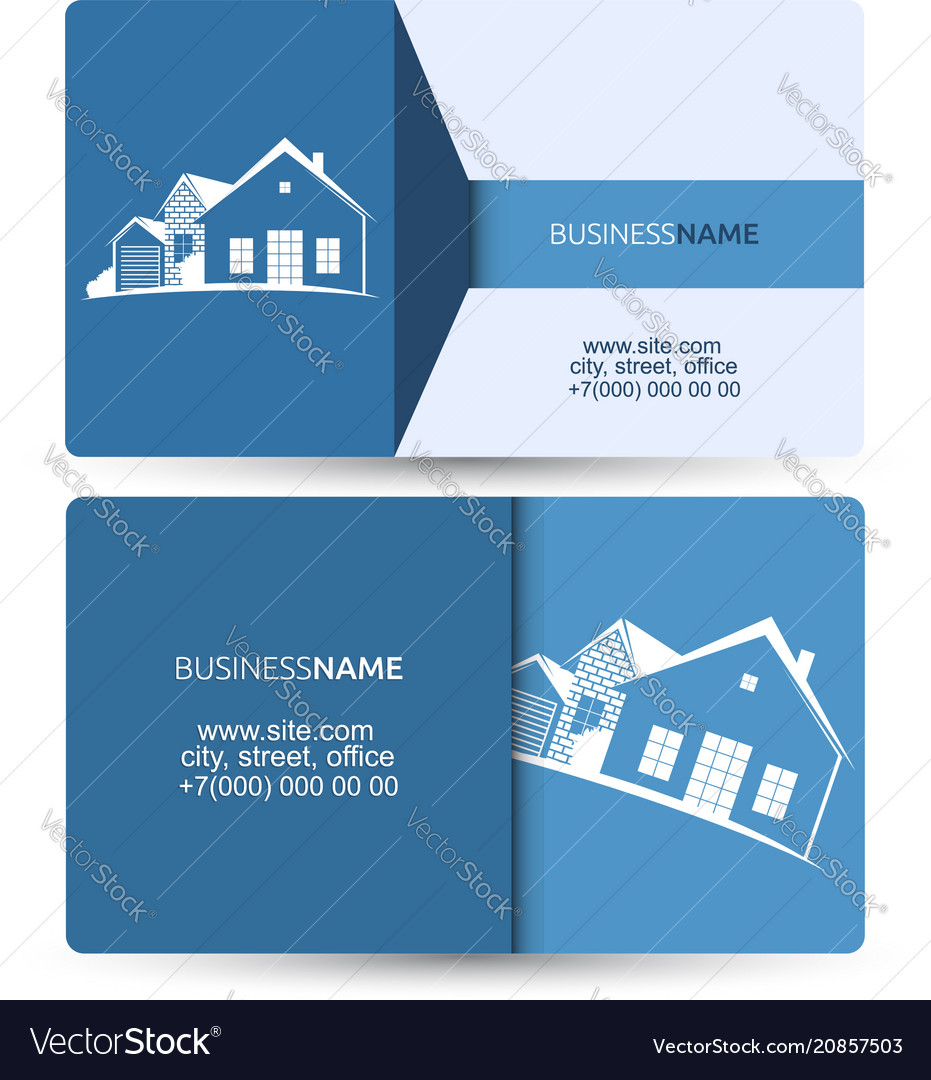 sale and construction of housing business card vector image