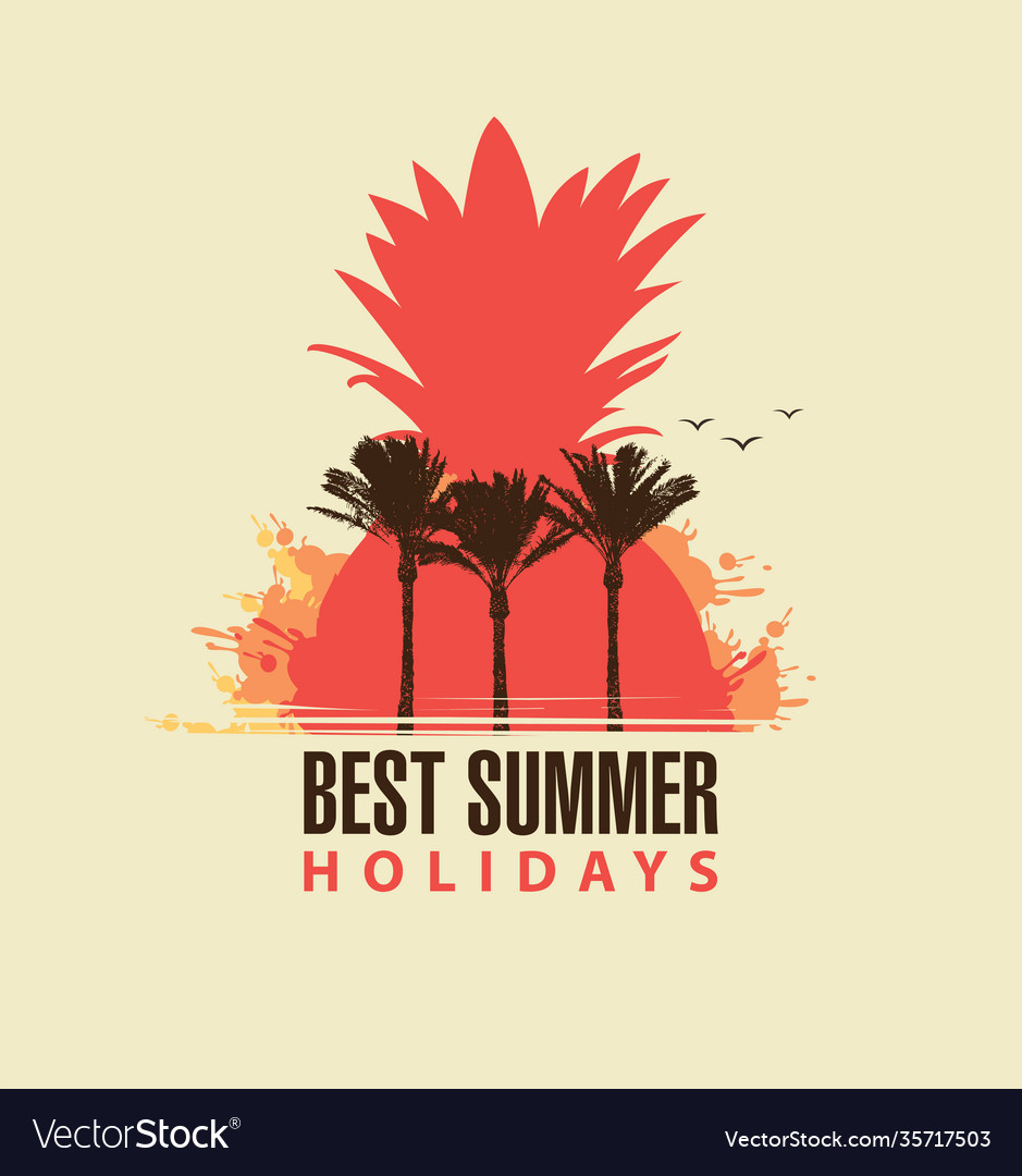Travel summer banner with palm trees and pineapple
