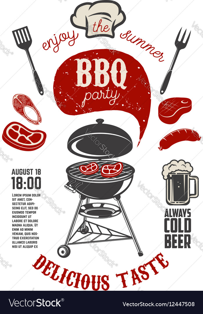 BBQ party vintage flyer template Grill with
