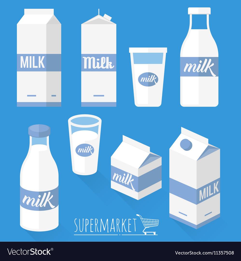 Flat design milk icons