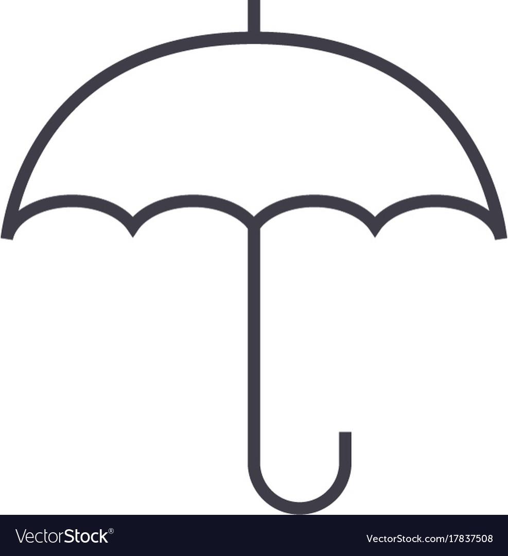 fdf595fcfe3ff Insurance umbrella line icon sign Royalty Free Vector Image