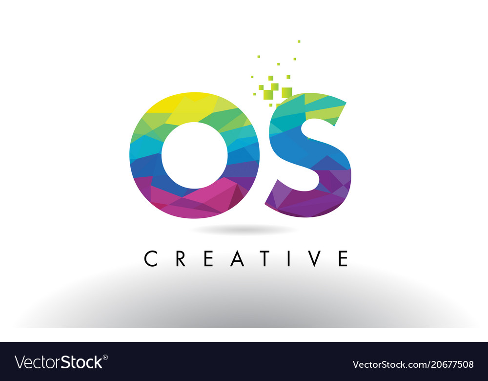 Os O S Colorful Letter Origami Triangles Design Vector Image