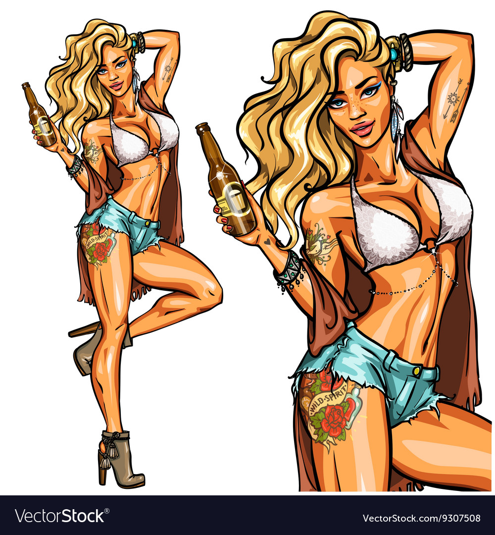 Party girl in bikini with beer bottle isolated on vector image