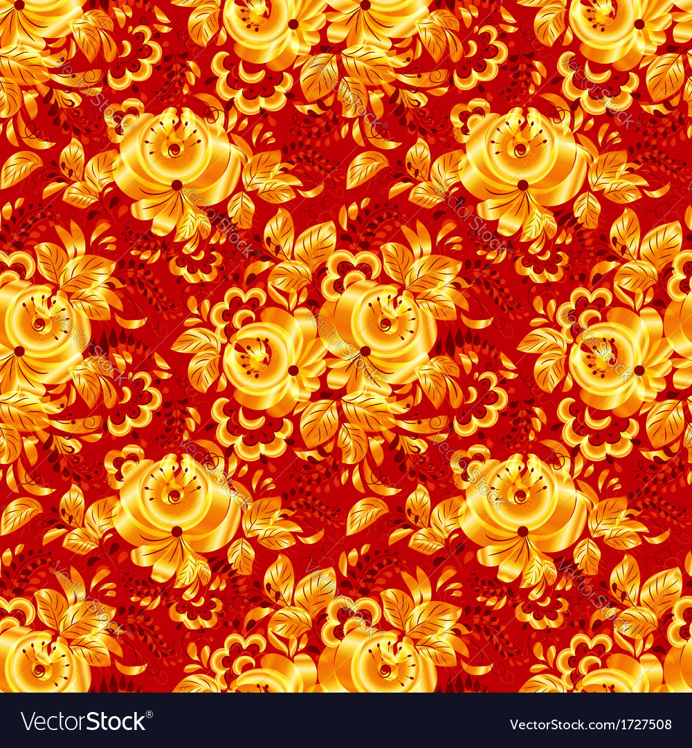 Red textile seamless pattern with golden flowers