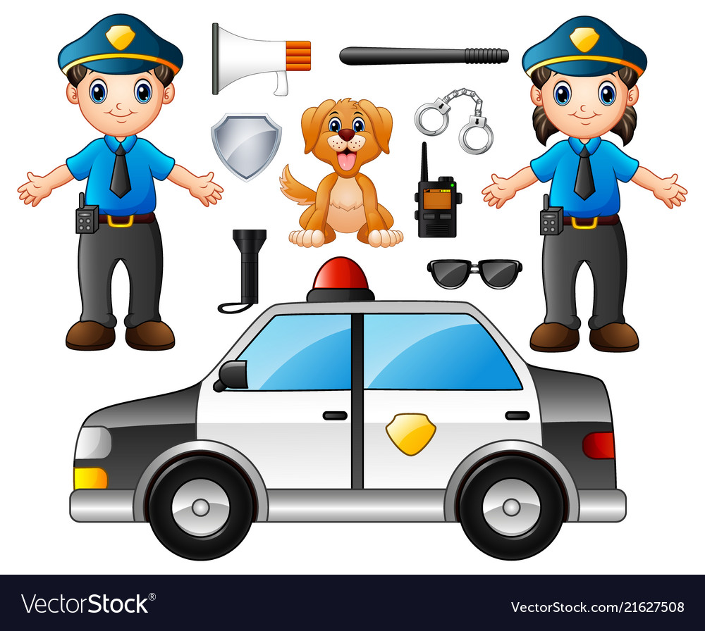 Set of police officer with police professional equ