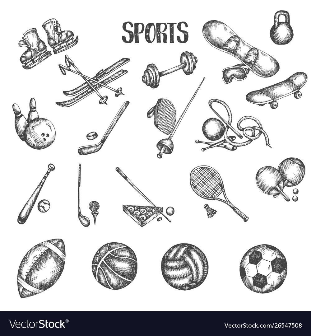 Sports vintage hand drawn