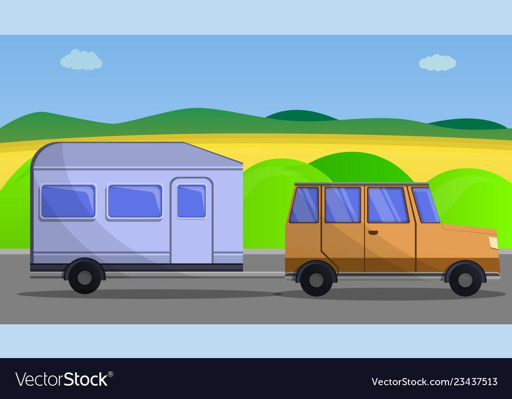 Camp car trailer concept banner cartoon style