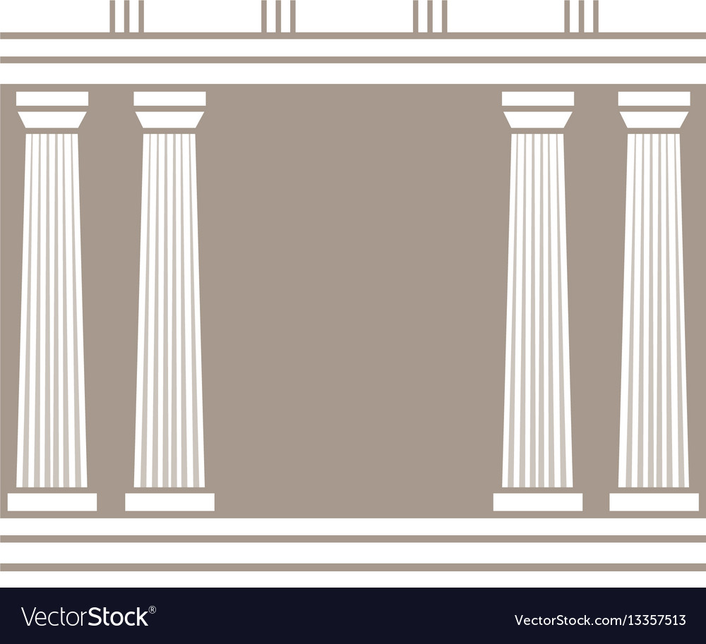 Double classic pillars arc isolated on brown